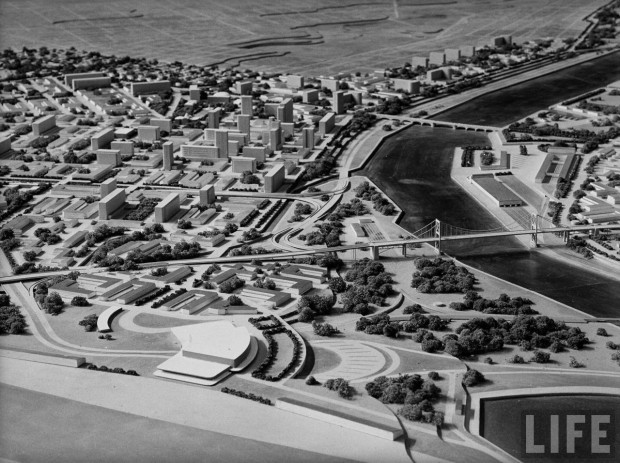 Norman Bel Geddes' model of city planning for Toledo (detail of the new central station for trains, bus and planes). Photograph by Frank Scherschel. Published in LIFE magazine on September 17, 1945, p. 90.