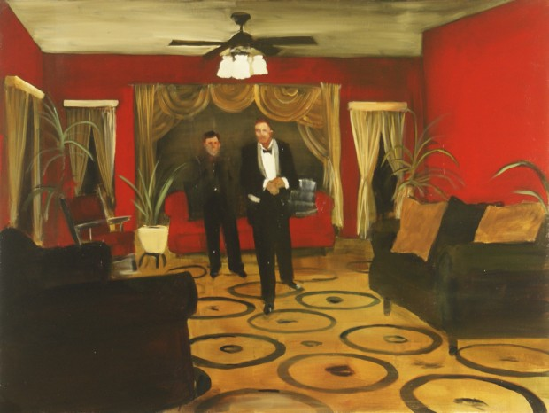 """Red Parlour"" by Michael Harrington, oil on canvas, 36"" x 48"", 2011"