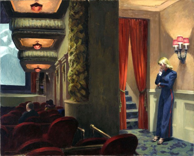 """New York Movie"" by Edward Hopper, oil on canvas, 32 1/4 x 40 1/8"", 1939"
