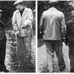 Martin Heidegger (dark suit) and René Char (clear suit), photographed by Roger Munier, date unknown