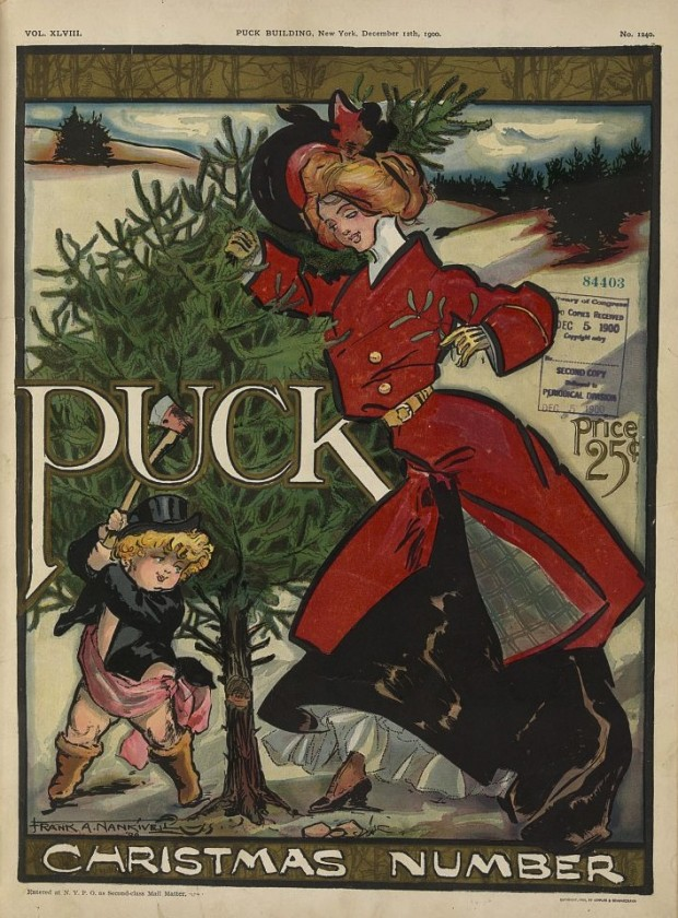 Christmas illustration by Frank Arthur Nankivell for the magazine Puck, December 12, 1900