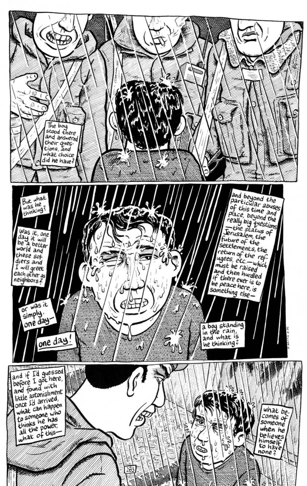 "Page 283 from Joe Sacco's graphic novel ""Palestine"" (Fantagraphics Books, 2001)"
