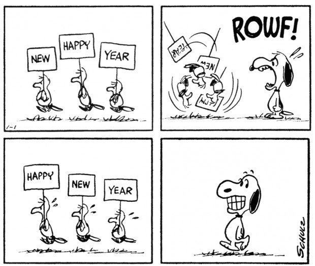 Peanuts, January 1st, 1966 by Charles M. Schulz, Seattle: Fantagraphics Books, 2007, p. 157.  © 2011 United Features Syndicate,