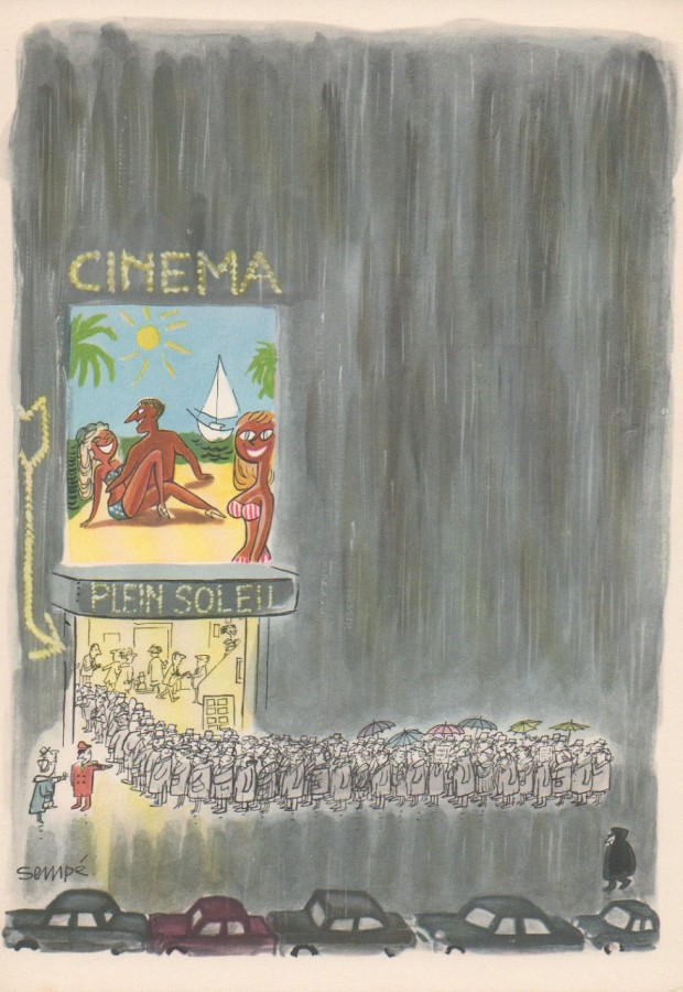 """Comment on s'enrhume à Paris"" by Jean-Jacques Sempé, series of 12 illustrated panels (one for each month of the year), month of November, 16x23 cm, 1961"
