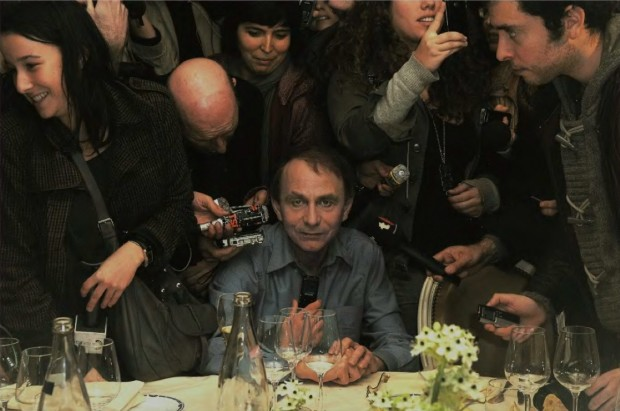 Michel Houellebecq gives a press conference after he received the 2010 Prix Goncourt at Restaurant Drouant on November 8, 2010 in Paris, France. Photo by Dominique Charriau/WireImage, November 8, 2010.