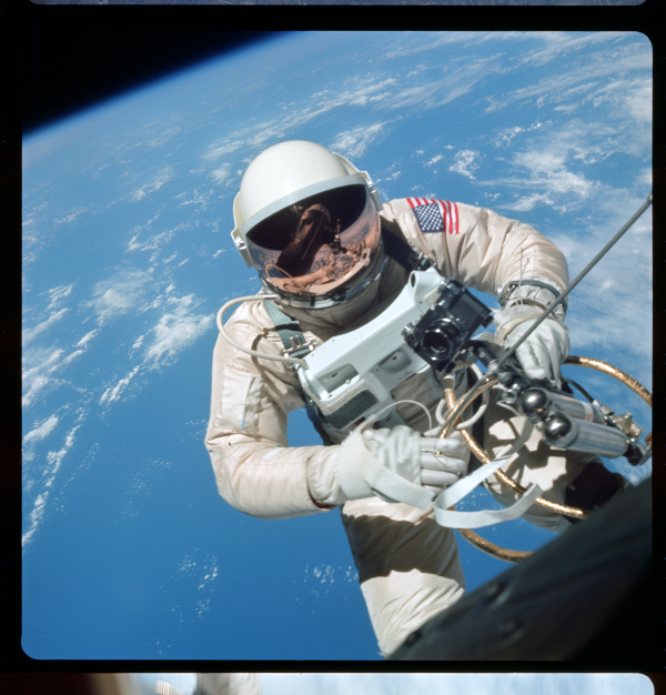 Processed photograph from the Gemini IV mission depicting astronaut Edward White during NASA's very first EVA (Extra Vehicular Activity). June 3, 1965.