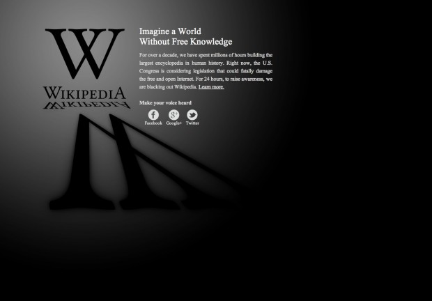 Screen capture of Wikipedia's Protest SOPA splash page (January 18, 2012)