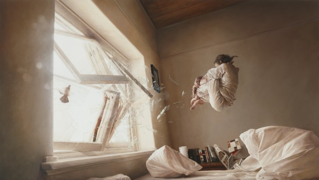 """A Perfect Vaccuum"" by Jeremy Geddes, oil on board, 20"" x 35"", 2011"