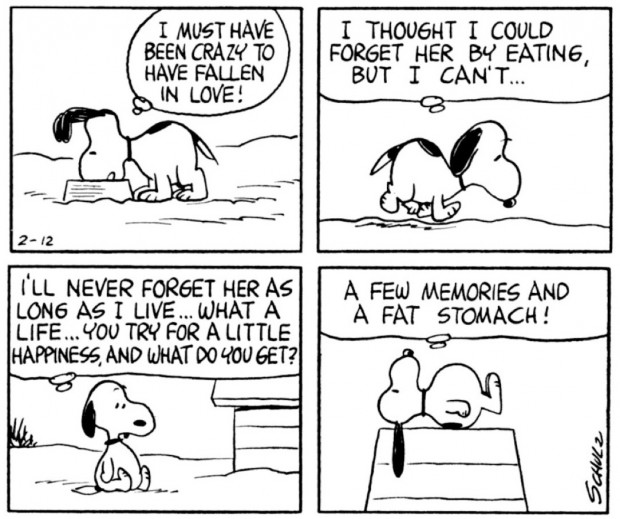 Peanuts, February 12, 1965 by Charles M. Schulz, Seattle: Fantagraphics Books, 2007, p. 19.  © 2011 United Features Syndicate