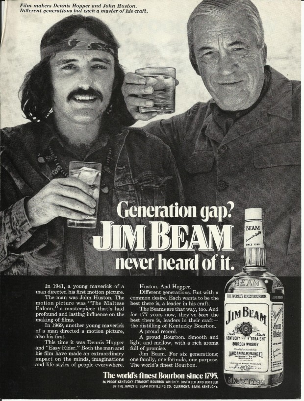 Magazine advertisement for Jim Beam whisky featuring Dennis Hopper and John Huston, 1972