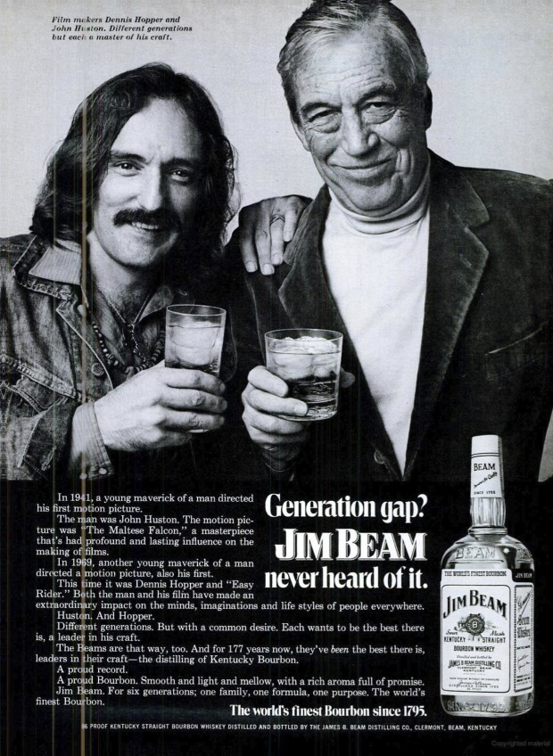 Magazine advertisement for Jim Beam whisky featuring Dennis Hopper and John Huston, 1972. Retrieved from Field &Stream July 1972, p. 35