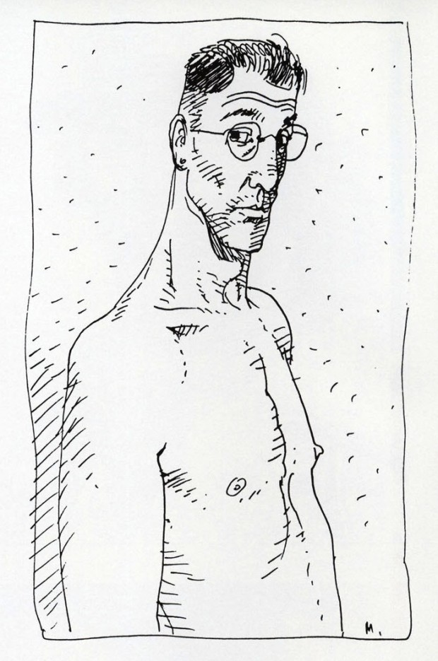 "Self-portrait by Moebius published in  ""Starwatcher"", Paris: Aedena, 1986, p.3"