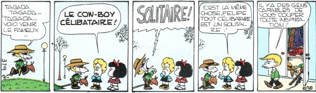 """Mafalda"" Tome 2 by Quino, comic strip no. 379, French translation, Buenos Aires: Ediciones de la Flor, 1972"