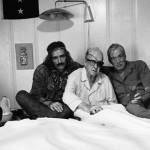 Dennis Hopper, John Ford and  John Huston in bed together (Victor Skrebneski, 1971)