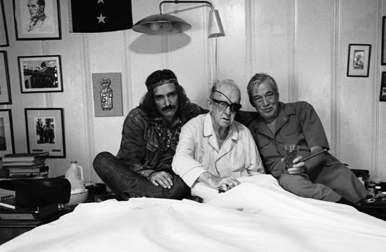 "Dennis Hopper, Actor, John Ford, Director, John Huston, Director, 13 September 1971, Palm Springs, California, photographed by Victor Skrebneski, gelatin silver print, 14"" x 21 3/8"". © 2012 Victor Skrebneski."