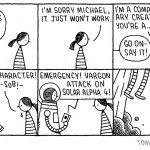 """Sci-fi v Literary Fiction"" by Tom Gauld, March 2011"