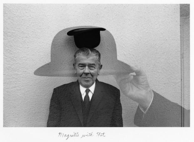 """Magritte with Hat"" by Duane Michals, 1965, gelatin silver print with hand applied text, 6 3/4"" x 9 7/8"". © Duane Michals."