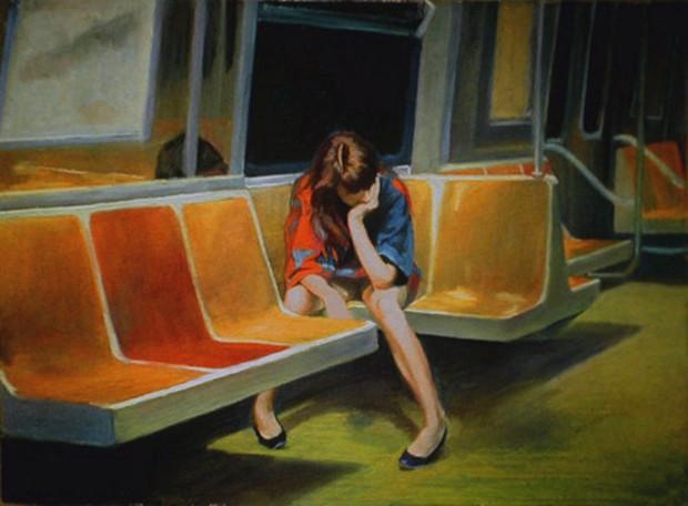 """""""Q Train"""" by Nigel Van Wieck, pastel on paper, 22"""" x 30"""", 1990"""