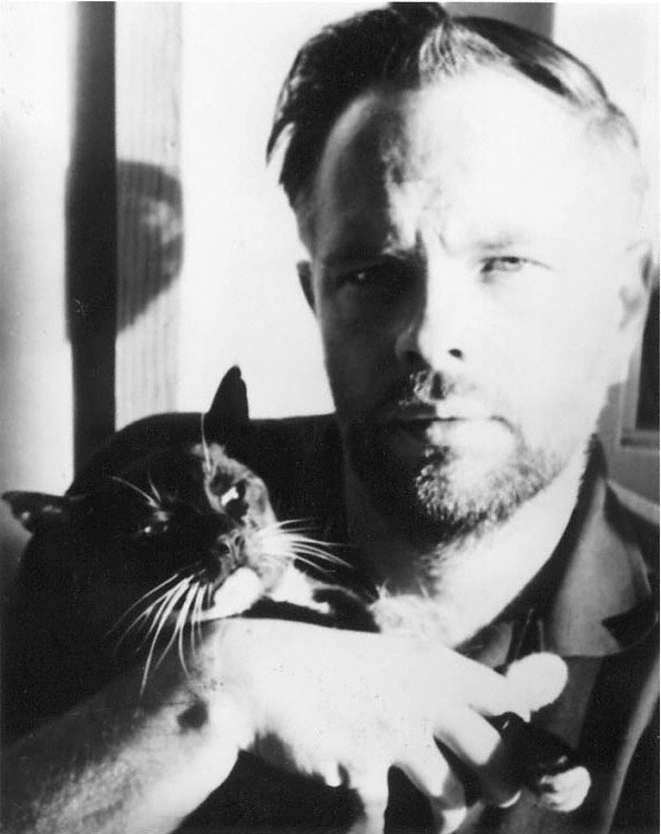 """Philip K. Dick with his cat"" photo by Anne Dick, undated (retrieved from PhilipKDick.com)"
