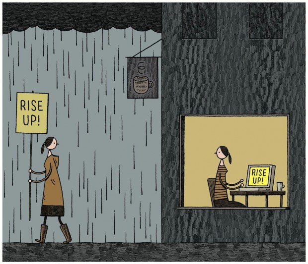 """Rise Up!"" Illustration about modern protesting for 'The World Today', uploaded on March 22, 2012. © Tom Gauld."