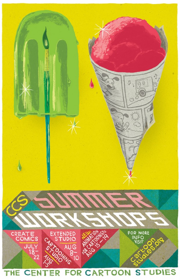CCS Summer Workshop poster by Joseph Lambert, drawn with a brush pen and G-nib & ink, colored in Photoshop, 2011. © Joseph Lambert