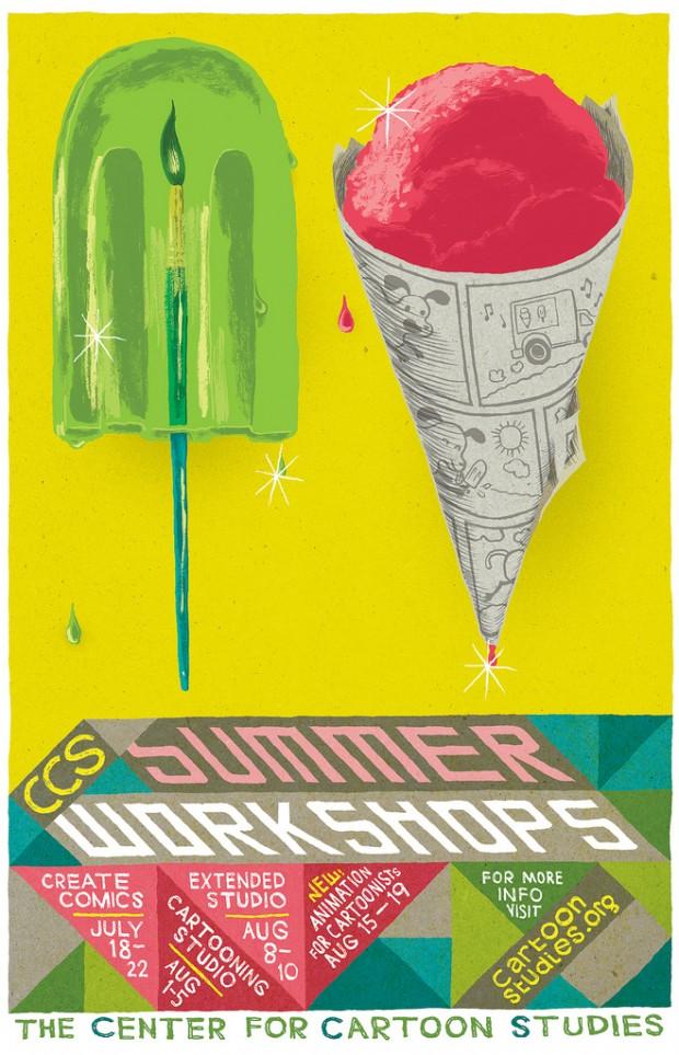 CCS Summer Workshop poster by Joseph Lambert, drawn with a brush pen and G-nib & ink, colored in Photoshop, 2011. © Joseph Lambert