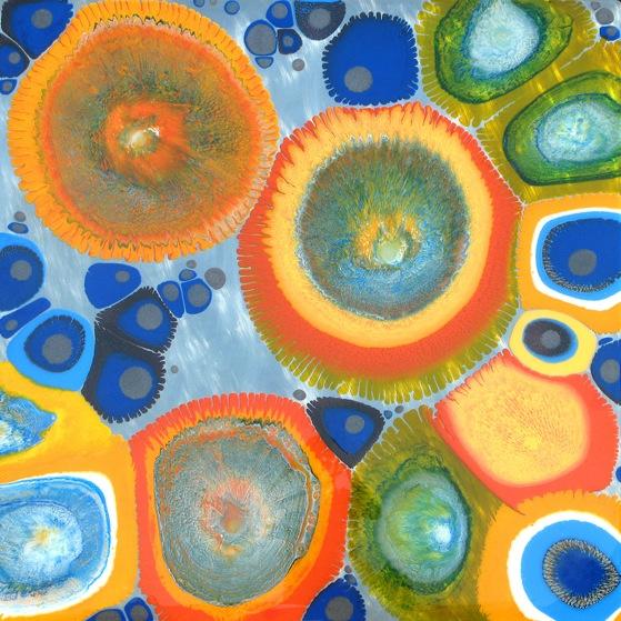 """Cefuroxim"" by Klari Reis, 2009, mix media on floating aluminum panel, 48"" x 48"""