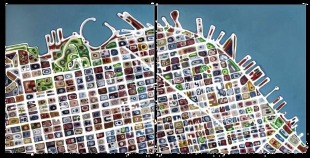 """San Fransisco North"" by Klari Reis, 2011, mixed media on floating aluminum panel, dyptich, 60"" x 120"" © Klari Reis"