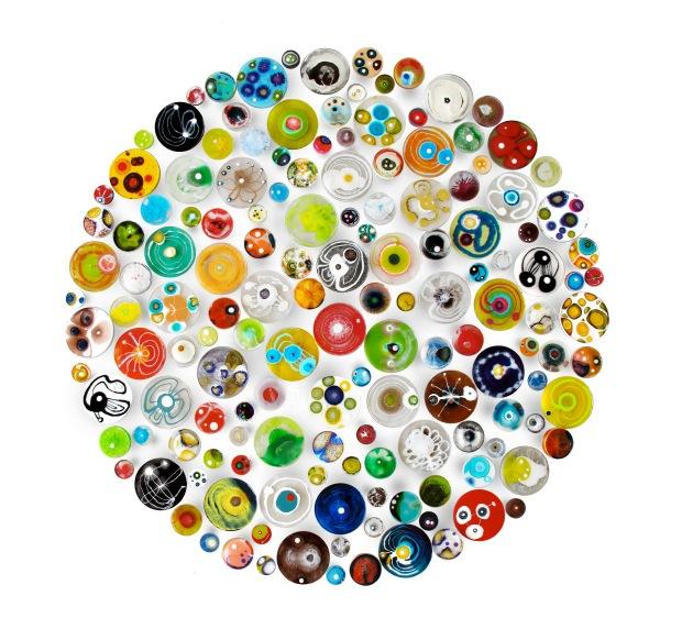 "Hypocondria: 150 pieces Petri dishes installation, 60"" in diameter, mixed media on Petri dish. © Klari Reis"