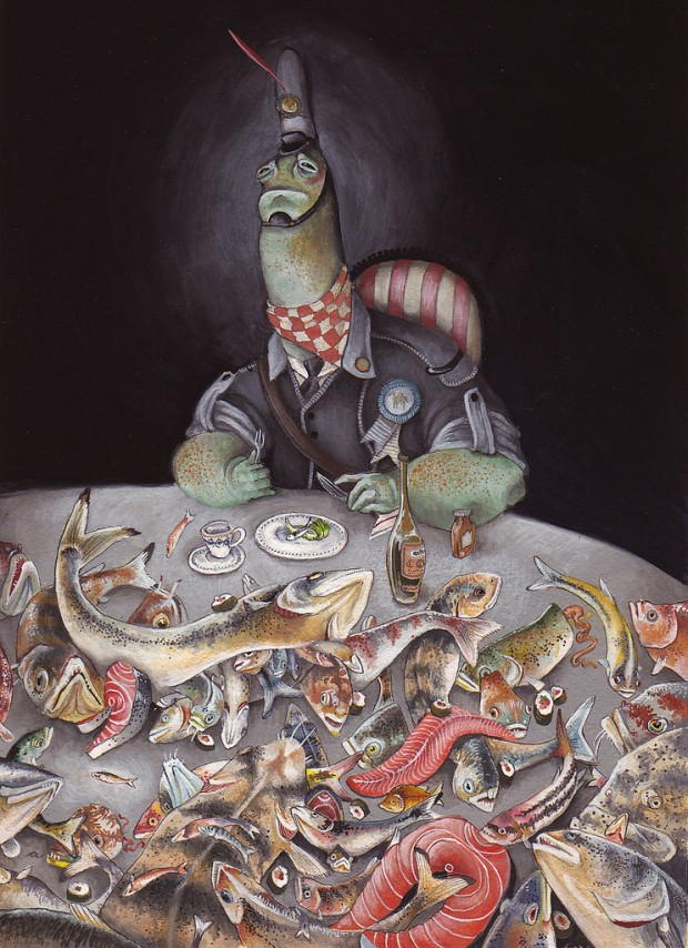 """""""Nothing to Eat"""" by Allison Sommers, gouache on illustration board, 4.5"""" x 6.5"""", 2008. © Allison Sommers"""