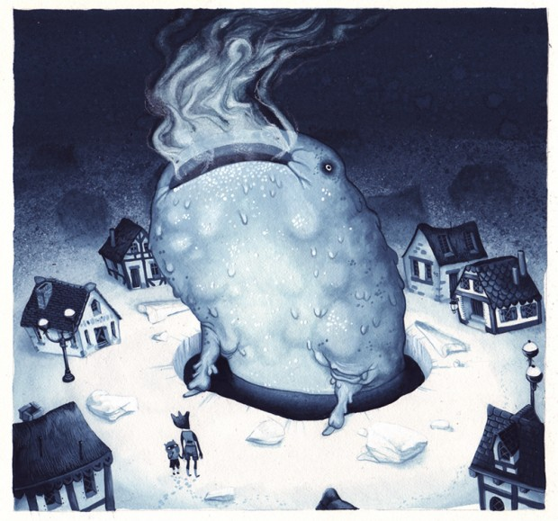 """""""Beneath"""" by Allison Sommers, gouache on illustration board, 12"""" x 12"""", 2010. © Allison Sommers"""