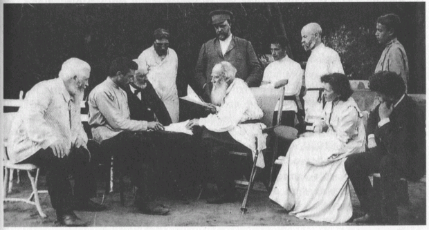 """Tolstoy reads a draft of his article """"On Madness"""" (1910). Retrieved from The Death of Tolstoy by William Nickell (2010, p. 23)"""
