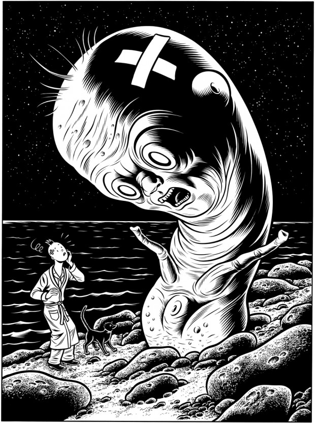 """Permagel"" cover art by Charles Burns, ink on paper, 18"" x 13"", 2008"