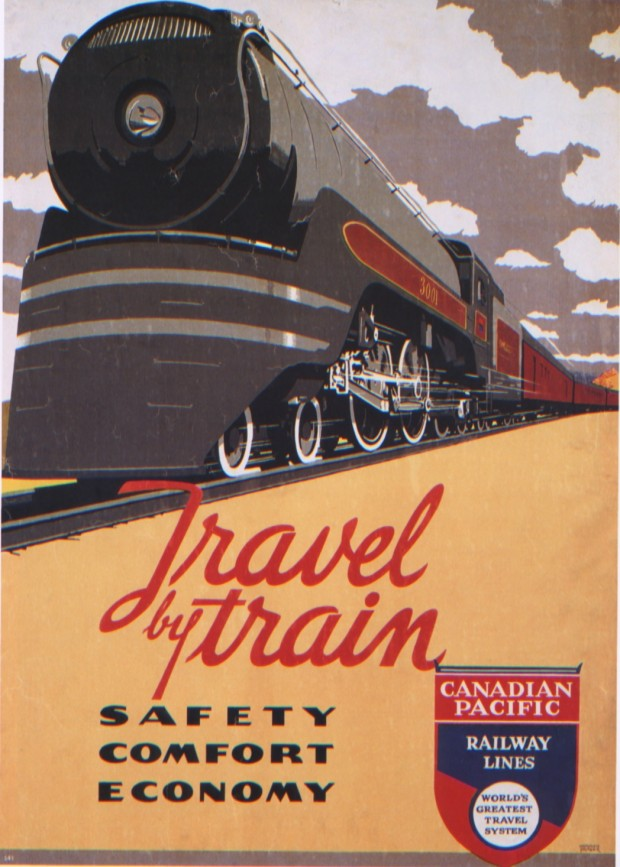 """Travel by train"" silkscreen poster by Norman Fraser for the Canadian Pacific, 1937"