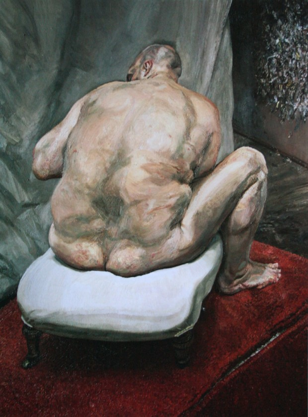 """""""Naked Man, Back View"""" by Lucian Freud, 1991-1992, oil on canvas, 183,5 x 137,5 cm, New York, Metropolitan Museum of Art"""