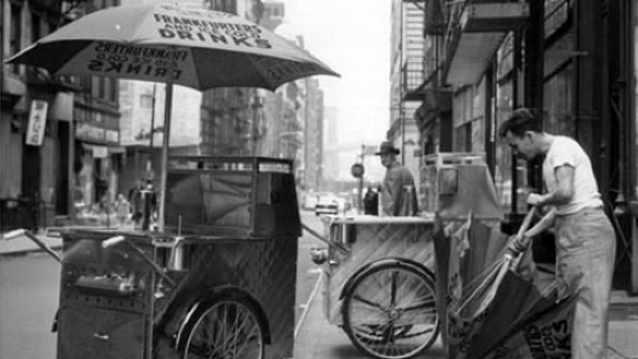 New York hot dog push cart