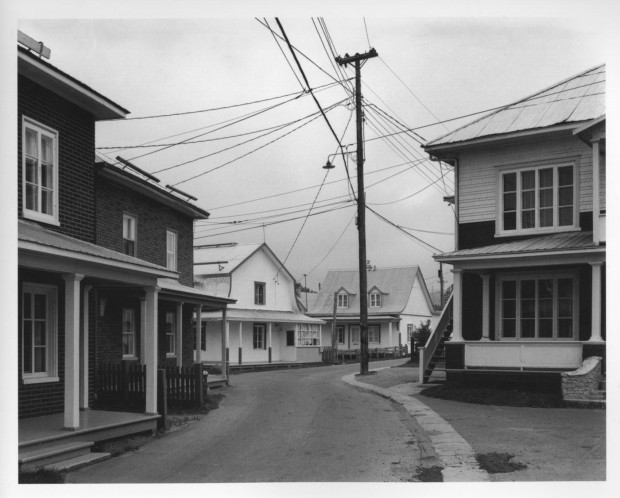 "Photo no. 116: ""Rue Saint-Adolphe, Baie-Saint-Paul"" by Gabor Szilasi, 4"" x 5"", September 20 or 21, 1970, negative no. 70-432. From the 'Charlevoix' series edited as 'Charlevoix 1970' (Quebec: L'instant même, 2012, p. 57)."