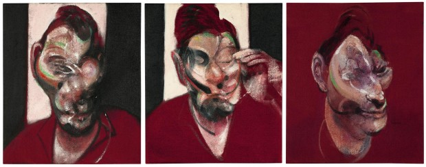 """Three Studies For Portrait of Lucian Freud"" by Francis Bacon, oil on canvas in three part, each 14"" x 11 7/8"", 1964 (dated on the reverse)."