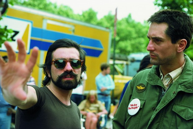 photo by Steve Schapiro depicting Martin Scorsese (left) and Robert De Niro (right) on the set of Taxi Driver, summer of 1975. This photo is included in the Deluxe Edition of 'Steve Schapiro, Taxi Driver' by Taschen, 2010.
