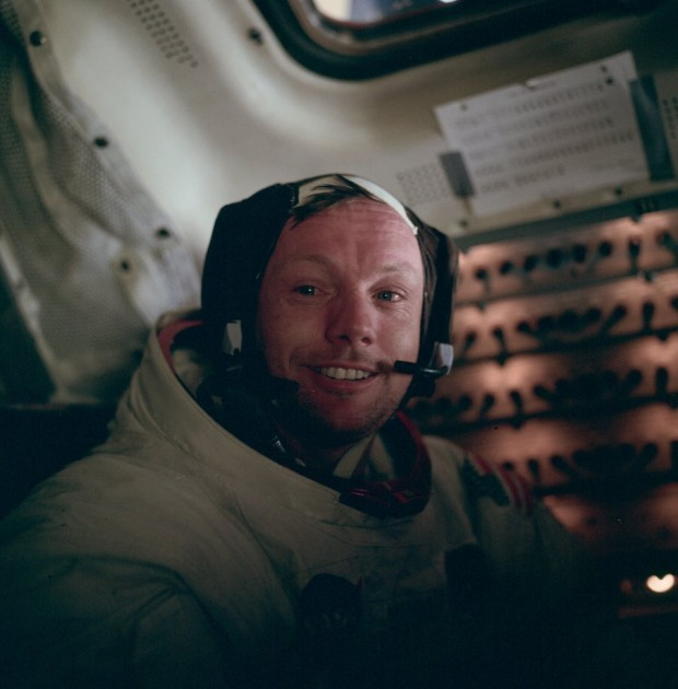 NASA (AS11-37-5528): Astronaut Neil Armstrong in the LM after his famous moonwalk. July 20, 1969