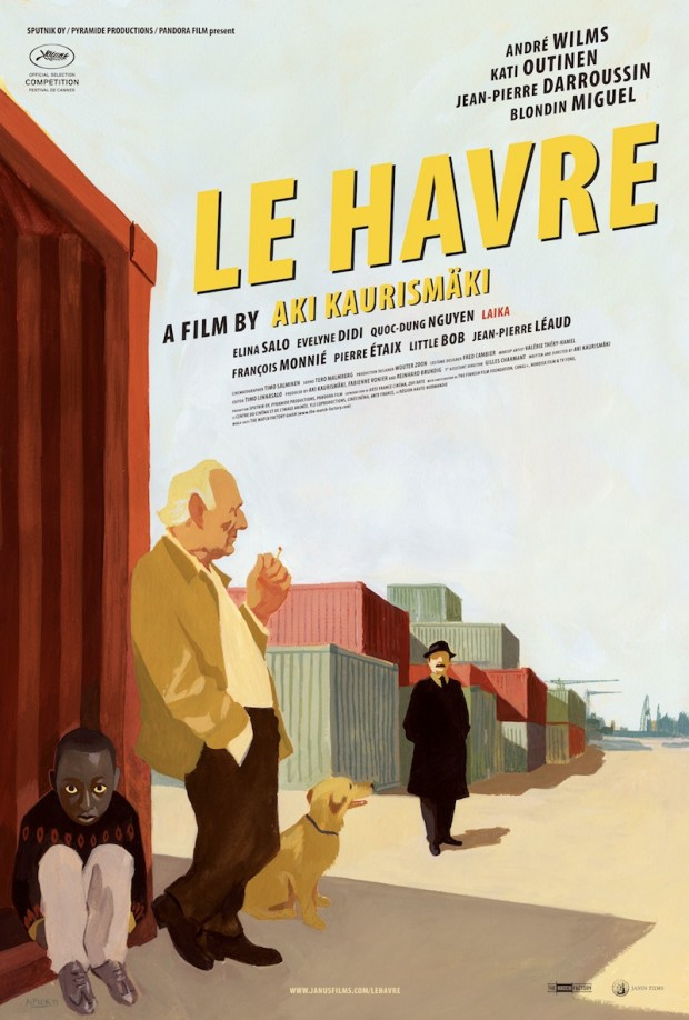 'Le Havre' by Aki Kaurismakï, 2011.  Official one-sheet poster for the American release of the film created by Manuele Fior