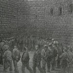 """Newgate Exercise yard"" by Gustave Doré, wood engraving, 1872"