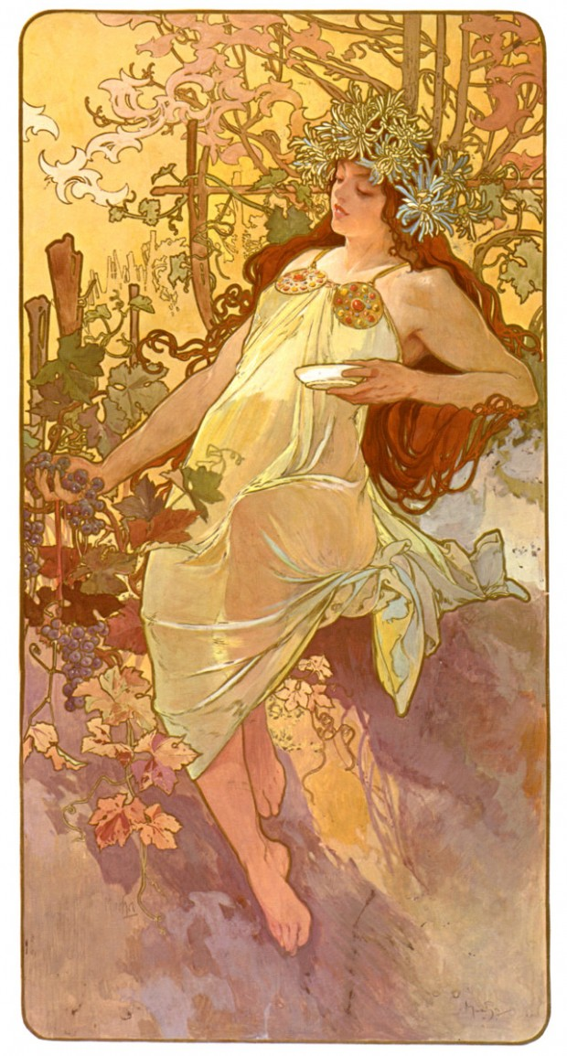 """The Seasons: Autumn"" (poster) by Alphonse Mucha, colour lithograph, 103 x 54 cm, 1896"