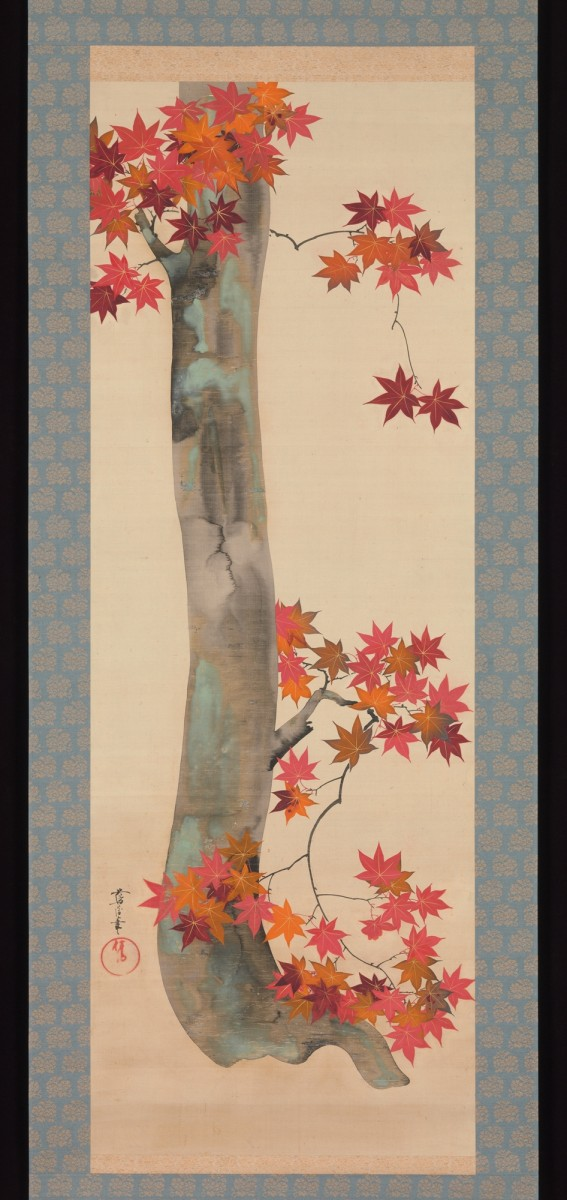 """The Metropolitan Museum of Art: """"Autumn Maple"""" by Sakai Ôho (1808–1841), hanging scroll, ink and color on silk, image is 45 1/2"""" x 16 5/16"""", Gitter-Yelen Collection."""