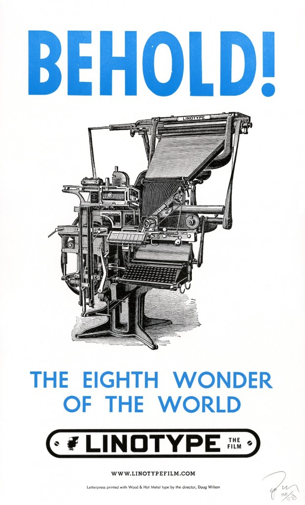 Official letterpressed poster for 'Linotype: The Film' by Doug Wilson, 2012