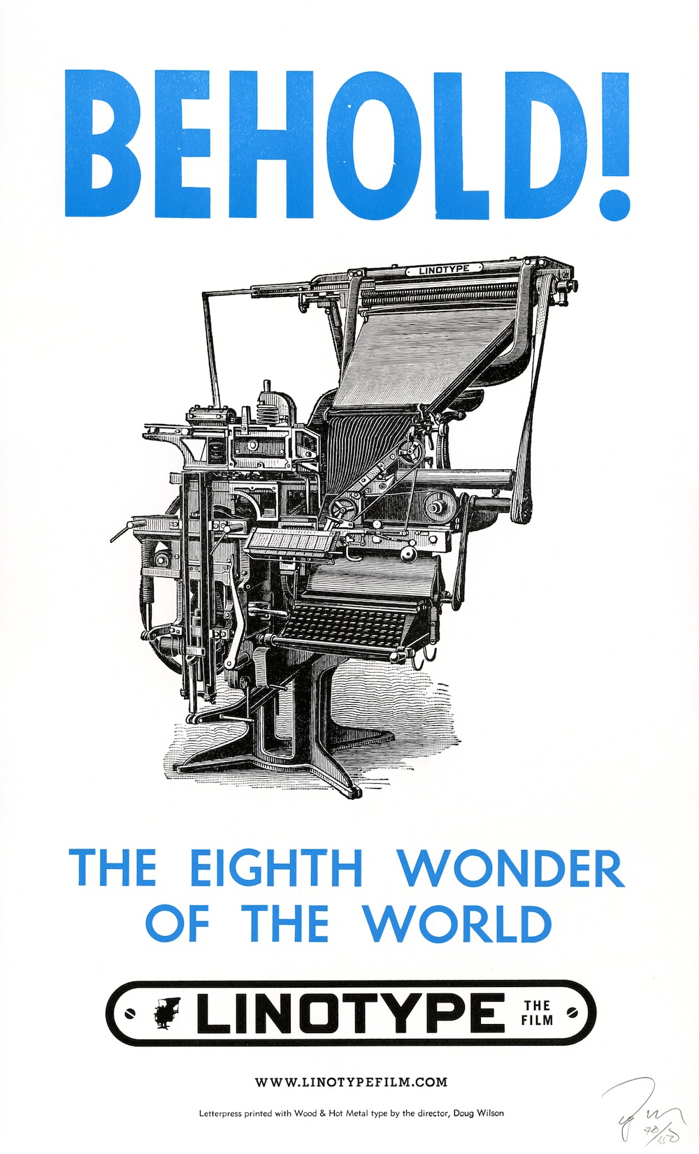 Official Letterpressed Poster For Linotype The Film By Doug Wilson 2012