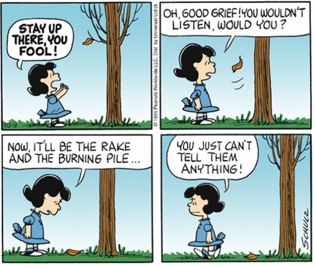 The Complete Peanuts 1965 to 1966 (Vol. 8) by Charles M. Schulz, Seattle: Fantagraphics Books, 2007, p. 123. The colored version was originally published on October 9, 1965. © United Features Syndicate, Inc.