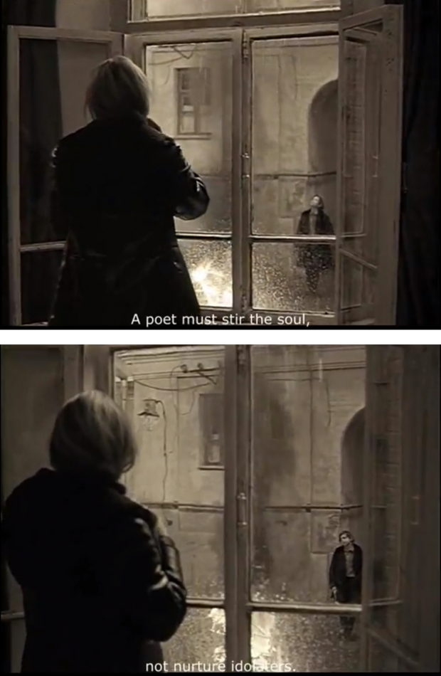 """A poet must stir the soul, not nurture idolaters"" in 'Mirror' by Andrei Tarkovsky, 1975, at 1hr 12mins"