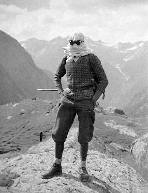 Found photography retrieved from Fortepan.hu: File 1920, a climber wearing headscarf and googles, photographed against a montain landscape. Approximate date: mid-1920'