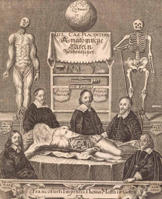 Frontispiece (copperplate engraving) for Giulio Casserio's 'Anatomische Tafeln', Frankfurt, 1656.